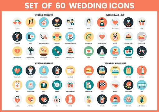 Wedding icons set for business