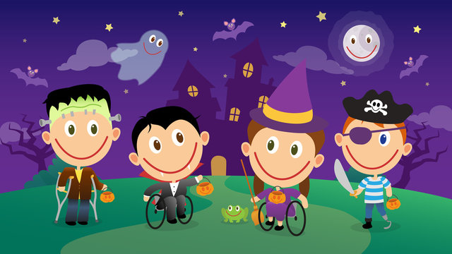 Disabled children in halloween costumes characters set. Vector group illustration
