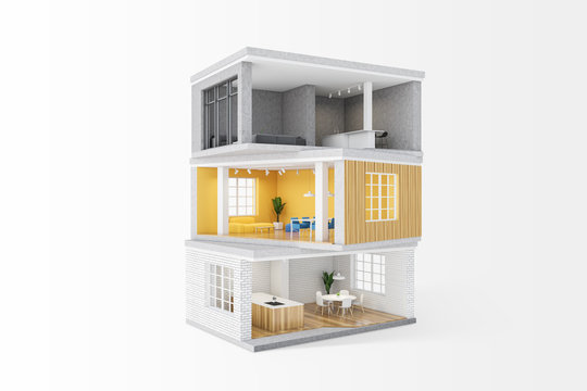 Model of private house with rooms
