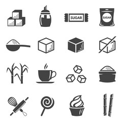 Sugar and confectionery black glyph icons vector set