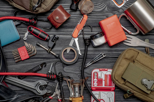 A set of tools for cycling and hiking. The concept of an active lifestyle.