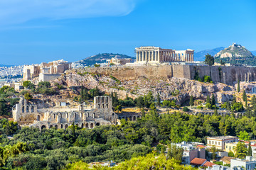 Wall Mural - Athens in summer, Greece. Panorama of Acropolis hill. It is a top landmark of Athens. Scenic view of Ancient Greek ruins. Landscape of old Athens city with famous Parthenon. Skyline of Athens.