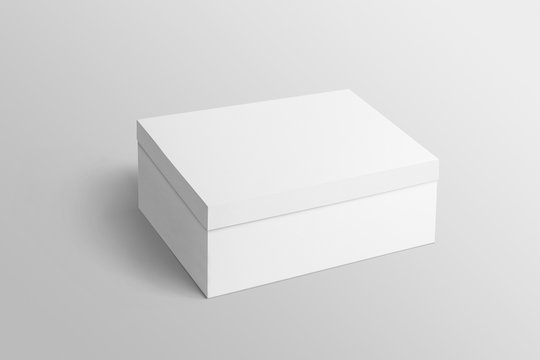 Top view of close white plain shoebox mockup on isolated background