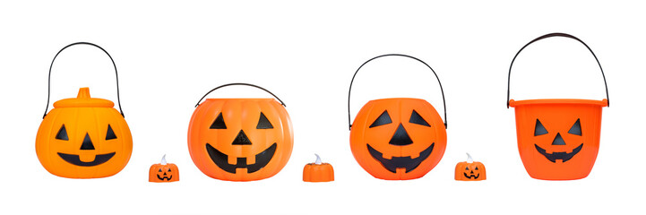 Halloween pumpkin bucket set isolated on white background (clipping path) for kid collecting candy...