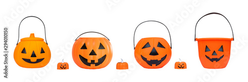 Halloween pumpkin bucket set isolated on white background (clipping path) for kid collecting candy in Jack o'lantern basket, trick or treat on halloween day holiday party