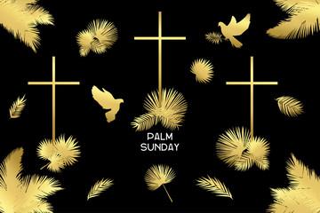 Plam sunday clip art set, golden elements kit, universal design on black background Wall mural