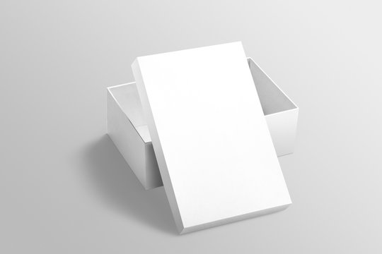 Top view of white plain open shoebox with lid mockup on isolated background