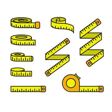 Tape measure icons - set of measuring tapes and ruler reels, centimeter bobbin
