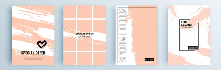 Modern abstract covers set, minimal covers design. Colorful geometric background, vector illustration. Wall mural