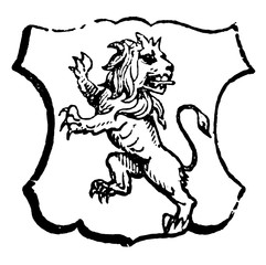 Lion Rampant Regardant is an animal looking towards the sinister side of the shield, vintage engraving.