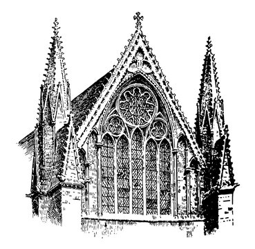 Lincoln Cathedral, of the Blessed Virgin Mary of Lincoln, vintage engraving.