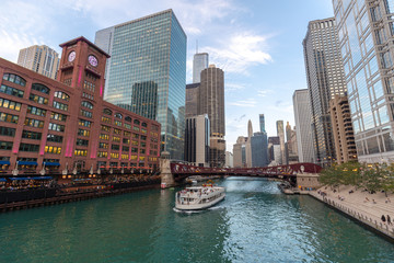 Fototapete - Chicago river downtown buildings skyline