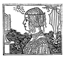 Woman with Braids, vintage engraving.