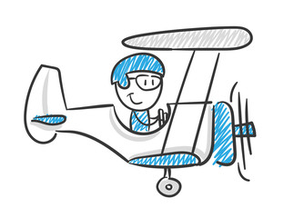Stickman Blue: Aeroplane, Travel, Pilot. (Nr. 108)