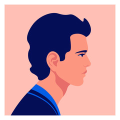 Profile of a young man. Avatar of a European guy. Character face side view. Social Media. Vector flat illustration