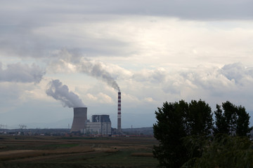 Smoke rises from a coal-fired power plant in Obilic near Pristina