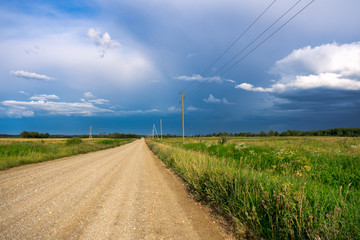 Rural road through green fields with trees and cloudy sky in countryside.
