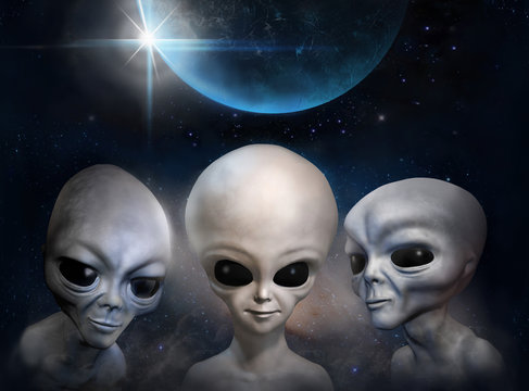 Three different grey aliens on the background of cosmic sky and earth planet. 3D illustration. Wallpaper.