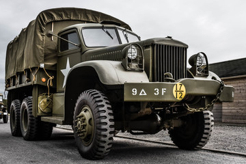 military vehicle of the second world war in close up