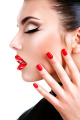 Wall Mural - Beautiful young woman with red lipstick.