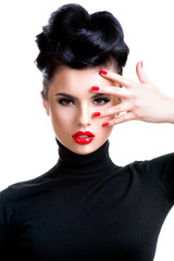 Fototapete - Woman with professional fashion make-up and manicure.