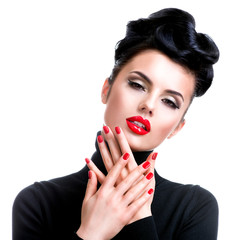 Wall Mural - Woman with professional fashion make-up and manicure.