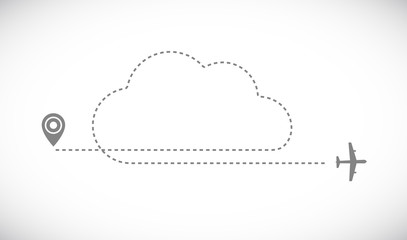 plane cloud track icon Wall mural
