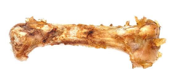 Small bones on a white background. food scraps. chicken bones
