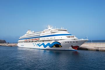 LA GOMERA, SPAIN - JULY 21. Aida Cara cruise ship docked in La Gomera, Canary islands on July 21, 2016.
