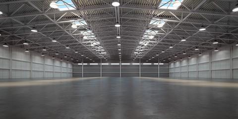 Fototapeta Empty warehouse interior. Storehouse building or storage room. obraz