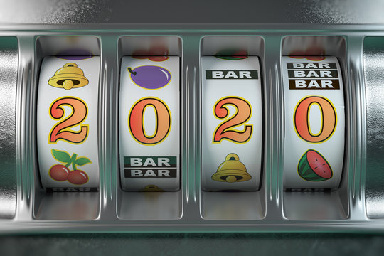 2020 Happy New Year in casino. Slot machine with jackpot number 2020.