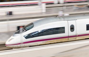 ZARAGOZA, SPAIN-31 MAY: RENFE - AVE High speed train at Zaragoza Delicias station on 31 May, 2013.