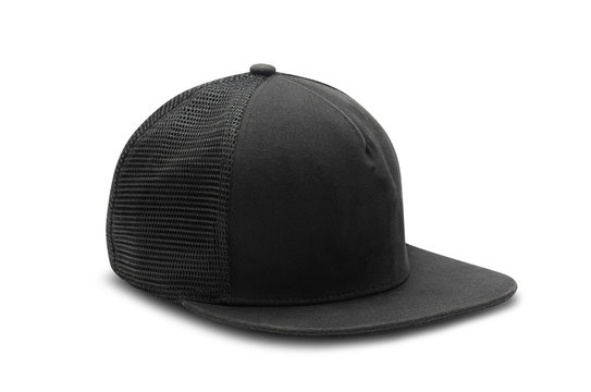 Black snapback cap isolated on white background with clipping path.