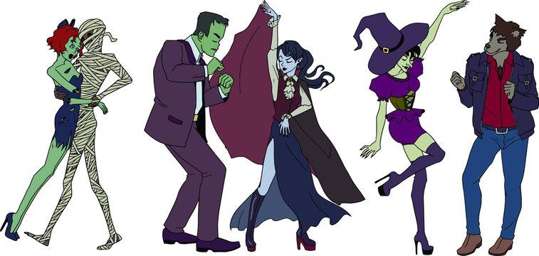 Dancing monsters: mummy, zombie girl, Frankenstein monster, vampire, witch, werewolf.