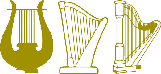 harp icon. music instrument symbol. sound musical harp.