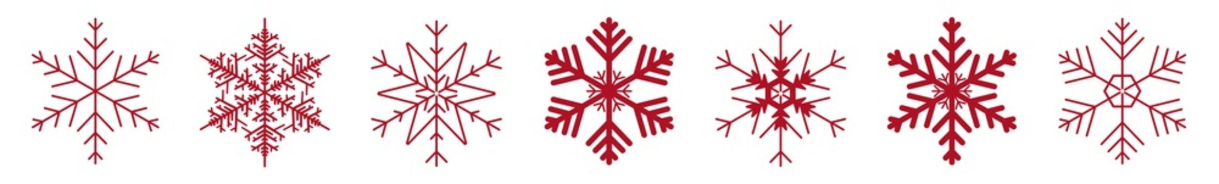 Snowflakes Red | Snowflake Icon | Christmas Logo | Ice Crystal Winter Symbol | Xmas Sign | Variations