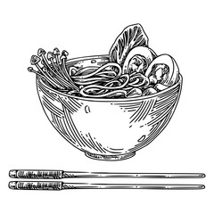 A bowl of Chinese soup ramen and chopsticks. Sketch. Engraving style. Vector illustration.