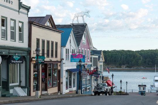 Main street Bar Harbor Maine looking toward the water