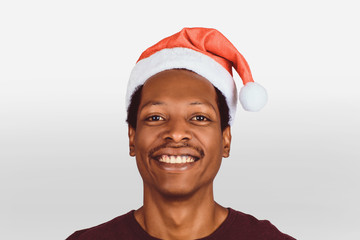 happy man in christmas hat.