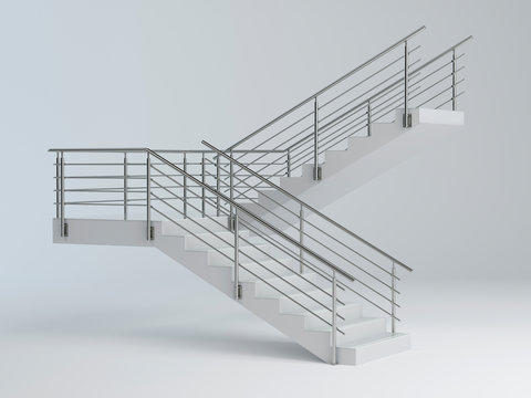 Stairs and stainless steel railing v2, 3D illustration