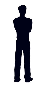 A man stands and looks into the distance. The view from the back. Vector drawing
