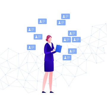 Vector flat business hr people illustration. Businesswoman with document folder on low poly background with cv icon. Concept of online services. Design element for banner, poster, infographics