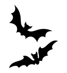 halloween flying bats silhouette isolated on white background
