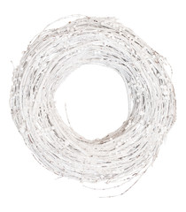 Wreath or circle frame from dry grape branches painted by white color isolated on white background