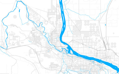 Rich detailed vector map of Richland, Washington, USA Fototapete