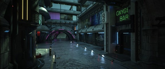 Fotomurales - Street of a futuristic city. Photorealistic 3D illustration. Night scene with neon lighting. Dark urban landscape. Cityscape in the style of cyberpunk.