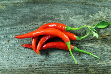 Canvas Prints Hot chili peppers ripe red hot chili pepper isolated in wooden background