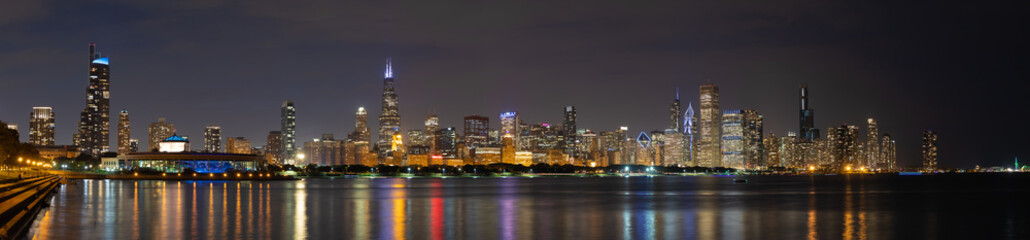 Wall Mural - Chicago downtown buildings skyline evening night