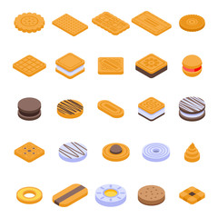 Cookie icons set. Isometric set of cookie vector icons for web design isolated on white background