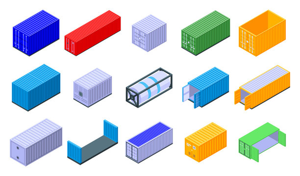 Cargo container icons set. Isometric set of cargo container vector icons for web design isolated on white background